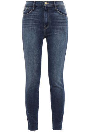 Frame | Frame Woman Faded High-rise Skinny Jeans Dark Denim | Clouty