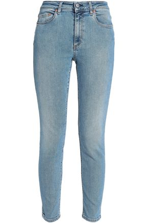 Acne Studios | Acne Studios Woman Faded Mid-rise Skinny Jeans Light Denim | Clouty