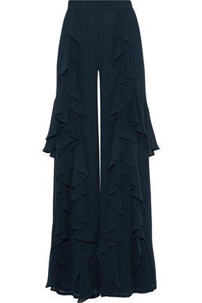 Badgley Mischka | Badgley Mischka Woman Ruffled Chiffon Wide-leg Pants Midnight Blue | Clouty