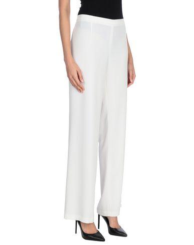 ECLA | Белый; Кислотно-зеленый Женские белые повседневные брюки ECLA креп | Clouty