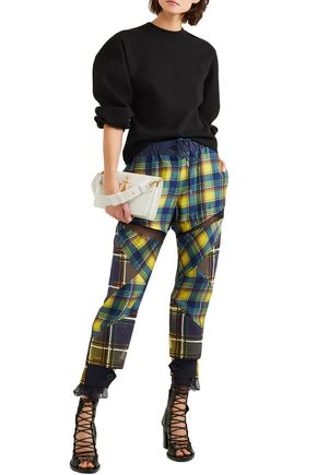 Sacai | Sacai Woman Mesh-trimmed Plaid Satin Pants Multicolor | Clouty