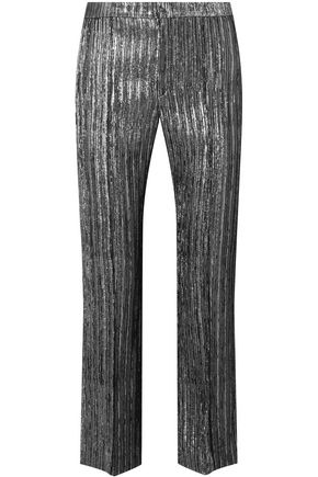 Isabel Marant Woman Dansley Cropped Textured-lame Straight-leg Pants Gunmetal