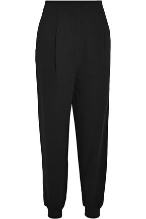 TIBI | Tibi Woman Crepe Tapered Pants Black | Clouty