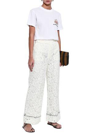Ganni | Ganni Woman Jerome Corded Lace Wide-leg Pants Ivory | Clouty