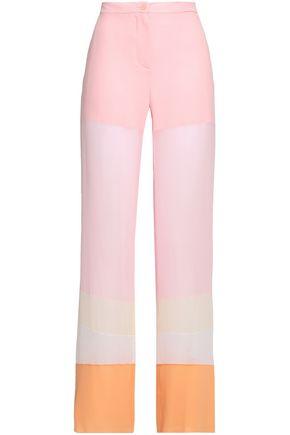 Emilio Pucci   Emilio Pucci Woman Color-block Silk-chiffon Wide-leg Pants Baby Pink   Clouty
