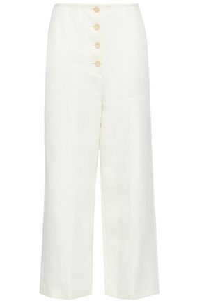 JOSEPH | Joseph Woman Button-detailed Cropped Twill Wide-leg Pants Ivory | Clouty