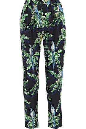 Stella McCartney | Stella Mccartney Woman Christine Pleated Printed Silk Tapered Pants Black | Clouty