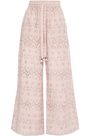 Zimmermann | Zimmermann Woman Broderie Anglaise Cotton And Silk-blend Wide-leg Pants Blush | Clouty