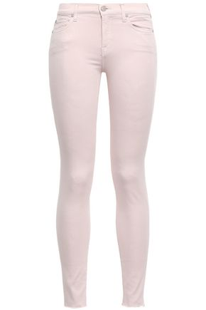 7 For All Mankind | 7 For All Mankind Woman Frayed Mid-rise Skinny Jeans Pastel Pink | Clouty