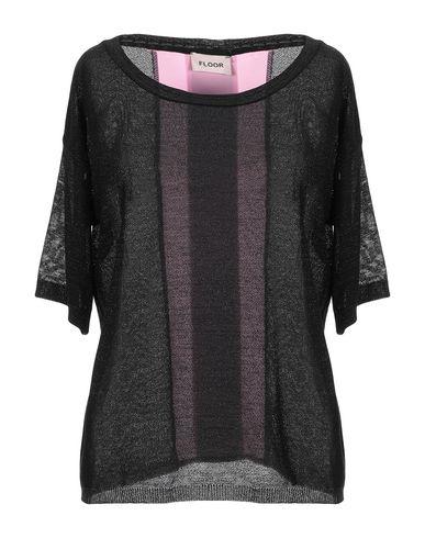 Floor | Черный; Небесно-голубой Женский черный свитер FLOOR креп | Clouty
