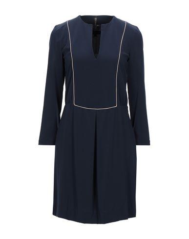Manila Grace   Темно-синий Темно-синее короткое платье MANILA GRACE креп   Clouty