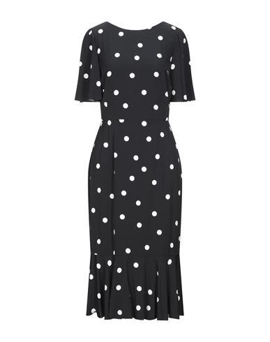 Dolce & Gabbana | Черный Черное платье длиной 3/4 DOLCE & GABBANA креп | Clouty