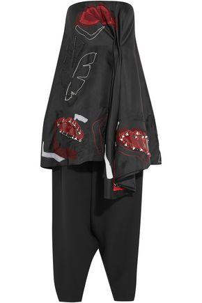 Roksanda | Roksanda Woman Embellished Silk Organza-trimmed Cotton-blend Top And Pants Set Black | Clouty
