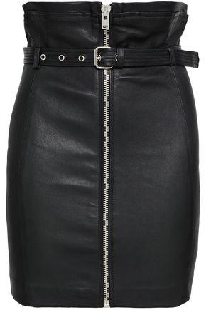 IRO | Iro Woman Hexim Belted Leather Mini Skirt Black | Clouty