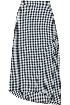 TIBI | Tibi Woman Asymmetric Gingham Woven Skirt Black | Clouty