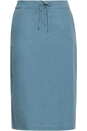 Majestic Filatures | Majestic Filatures Woman Frayed Lace-up Linen Skirt Light Blue | Clouty