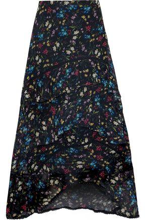 LOVE SAM | Love Sam Woman Tiered Floral-print Voile Midi Skirt Black | Clouty