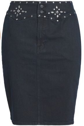 7 For All Mankind | 7 For All Mankind Woman Embellished Denim Mini Pencil Skirt Black | Clouty