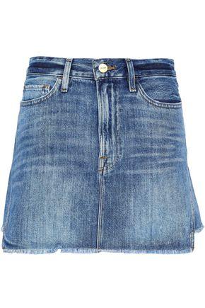Frame   Frame Woman Frayed Denim Mini Skirt Mid   Clouty