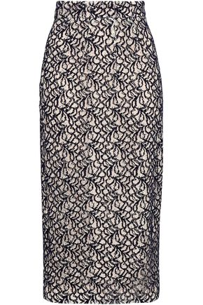 Emilia Wickstead | Emilia Wickstead Woman Linda Flocked Lace Midi Pencil Skirt Dark Purple | Clouty