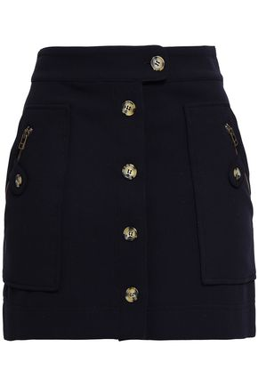 Veronica Beard | Veronica Beard Woman Button-detailed Crepe Mini Skirt Midnight Blue | Clouty