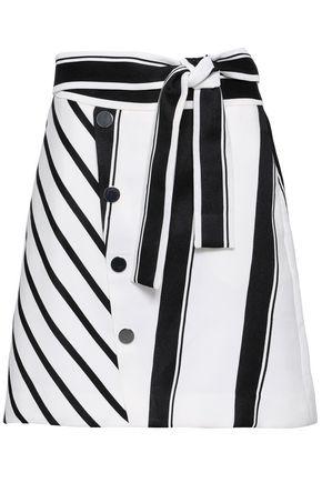 Maje | Maje Woman Button-embellished Striped Woven Mini Skirt White | Clouty