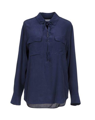 Equipment | Темно-синий; Белый; Черный Женская темно-синяя блузка EQUIPMENT атлас | Clouty