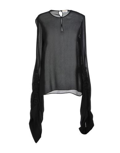 SAINT LAURENT   Черный Женская черная блузка SAINT LAURENT креп   Clouty