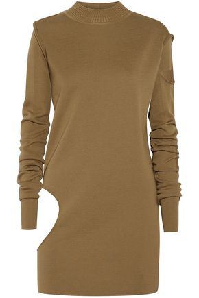 RICK OWENS | Rick Owens Woman Convertible Cutout Wool Tunic Sweater Army Green Size M | Clouty