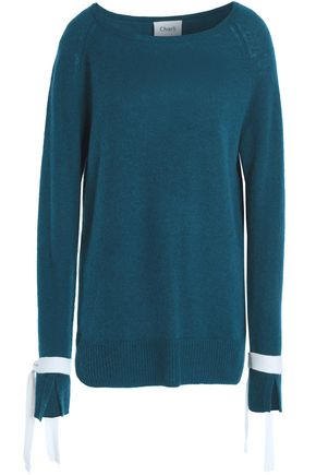 Charli | Charli Woman Tie-detailed Cashmere Sweater Petrol | Clouty