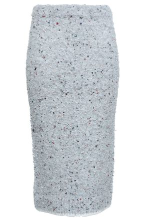 Victoria By Victoria Beckham | Victoria, Victoria Beckham Woman Boucle-knit Pencil Skirt Light Gray | Clouty