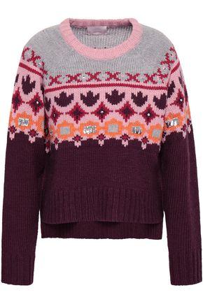 Cinq A Sept | Cinq A Sept Woman Sequin-embellished Jacquard-knit Sweater Multicolor | Clouty