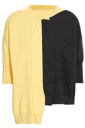 Marni | Marni Woman Asymmetric Two-tone Wool Top Pastel Yellow | Clouty