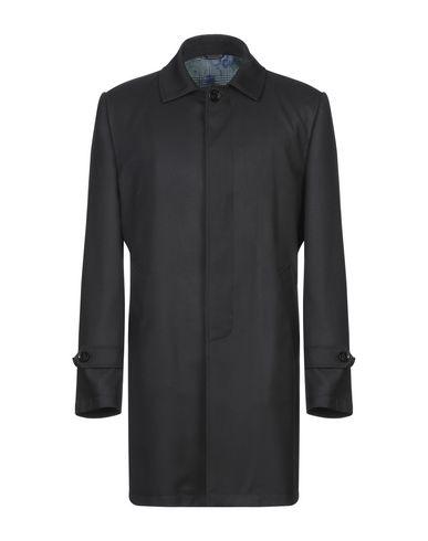 Grey Daniele Alessandrini | Черный Мужское черное легкое пальто GREY DANIELE ALESSANDRINI Фланель | Clouty