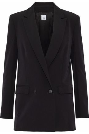 IRIS & INK | Iris & Ink Woman Double-breasted Crepe Blazer Black Size 10 | Clouty