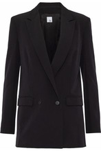 Iris & Ink Woman Double-breasted Crepe Blazer Black Size 10