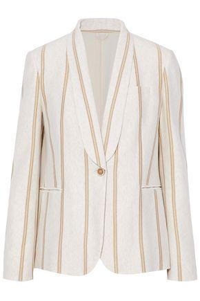 Brunello Cucinelli | Brunello Cucinelli Woman Metallic Striped Cotton-jersey Blazer Ecru | Clouty