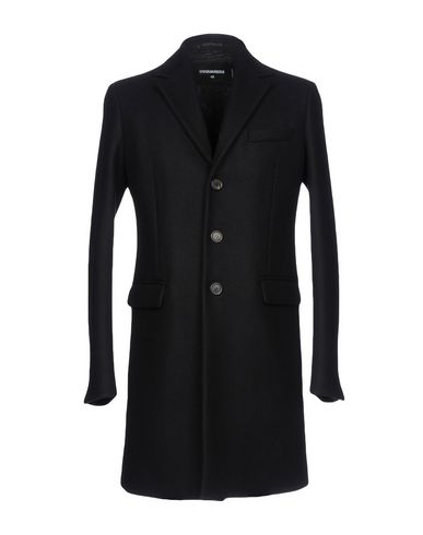 DSQUARED2 | Черный Мужское черное пальто DSQUARED2 сукно | Clouty