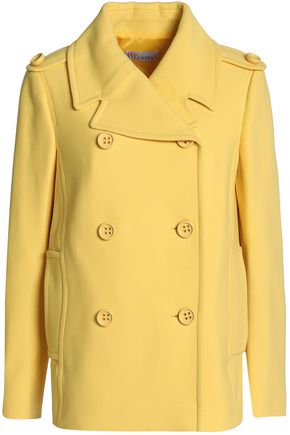 VALENTINO RED | Redvalentino Woman Double-breasted Cotton-blend Twill Jacket Yellow Size 38 | Clouty