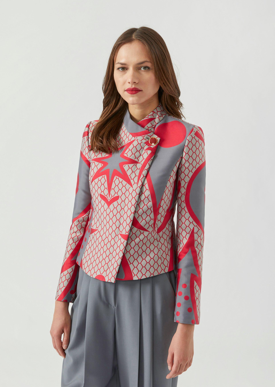 Emporio Armani | Асимметричный пиджак из жаккардового атласа с рисунком | Clouty