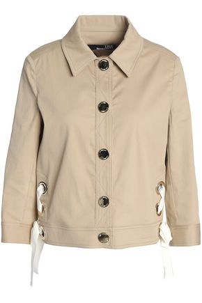 Love Moschino | Love Moschino Woman Lace-up Stretch-cotton Corduroy Jacket Beige Size 46 | Clouty