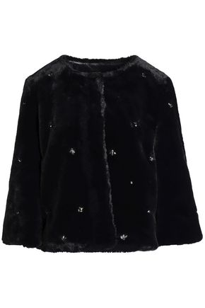 Joie | Joie Woman Nayland Crystal-embellished Faux Fur Jacket Black | Clouty