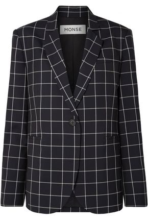 Monse | Monse Woman Lace-up Checked Wool-crepe Blazer Midnight Blue | Clouty