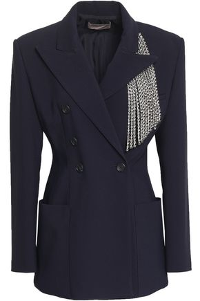 CHRISTOPHER KANE | Christopher Kane Woman Double-breasted Crystal-embellished Cady Blazer Midnight Blue | Clouty