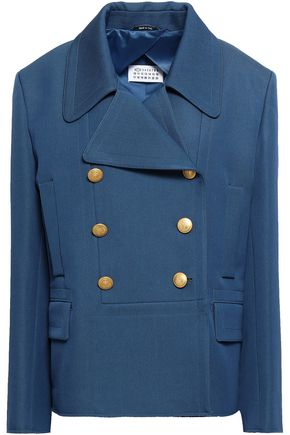 Maison Margiela | Maison Margiela Woman Double-breasted Virgin Wool And Cotton-blend Blazer Blue | Clouty