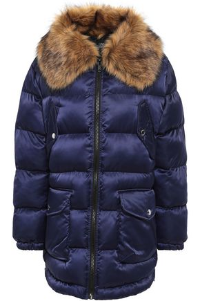 Love Moschino | Love Moschino Woman Faux Fur-trimmed Quilted Shell Coat Indigo | Clouty