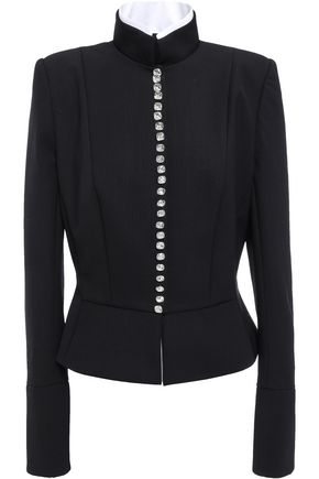 Alexandre Vauthier | Alexandre Vauthier Woman Crystal-embellished Wool-blend Twill Jacket Black | Clouty
