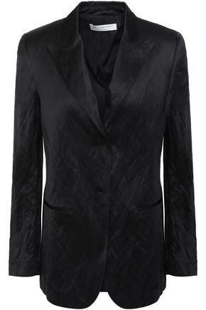Philosophy di Lorenzo Serafini   Philosophy Di Lorenzo Serafini Woman Crinkled-satin Blazer Black   Clouty