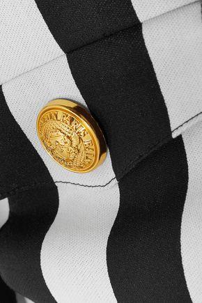 BALMAIN   Balmain Woman Button-detailed Striped Cotton-blend Blazer Black   Clouty