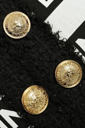BALMAIN | Balmain Woman Button-embellished Logo-print Cotton-blend Canvas Jacket Ivory | Clouty